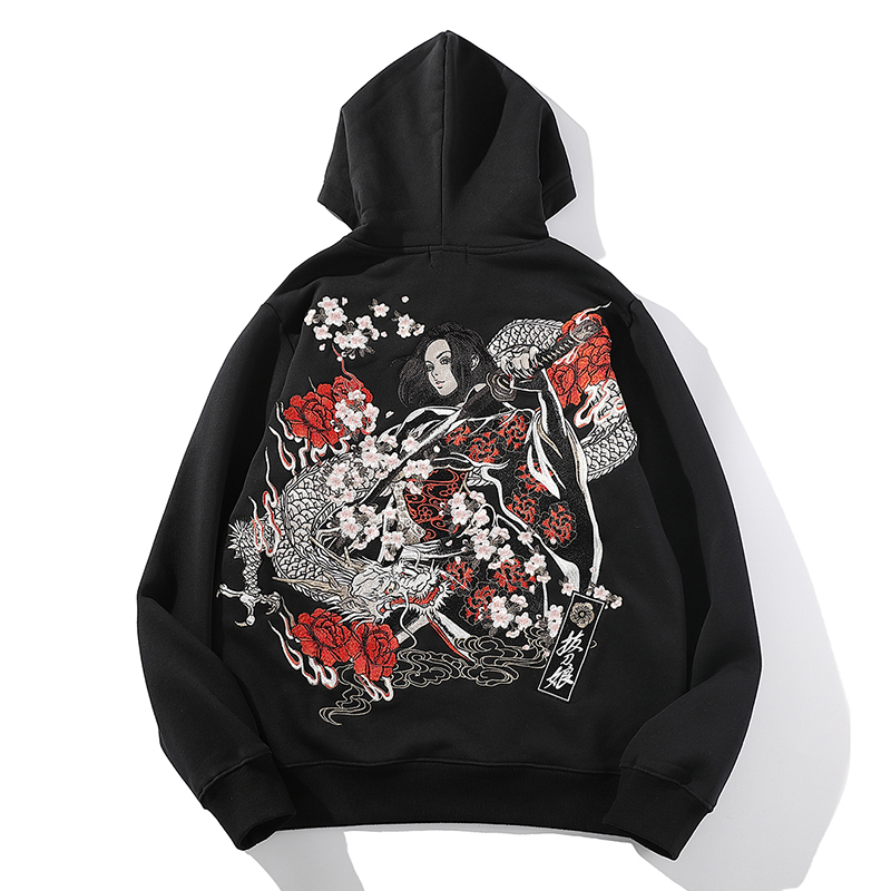 Japanese-style Yokosuka embroidery Chinese style dragon pattern drawing knife beauty winter plus velvet hoodie men's clothing