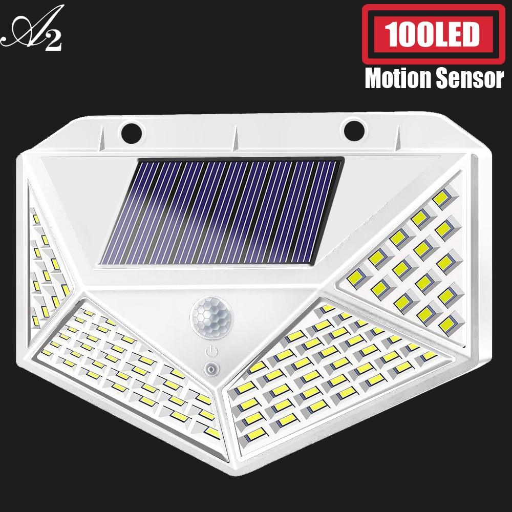 A2 Solar Lamp Lantern 100LED Light 4-side Big Battery PIR Motion Sener Garden Outdoor Patio Yard Wall Driveway Fence