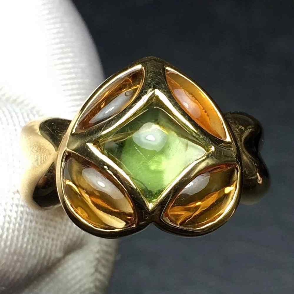 เครื่องประดับ 18K Rose Gold เพชรแท้ Peridot ธรรมชาติ 100% 6ct อัญมณีหญิงแหวนสำหรับผู้หญิงแหวน
