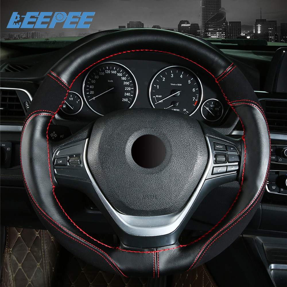 Car Steering Wheel Cover Car Interior Accessories Anti-slip 38cm PU+Suede Leather Braid with Needles Thread Wear-resistant