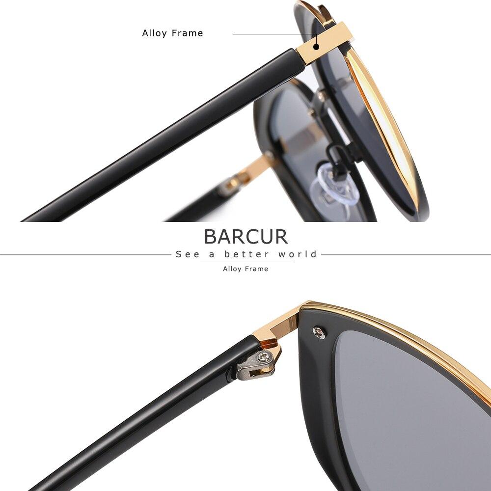BARCUR Luxury Polarized Sunglasses Women Round Sun glassess Ladies lunette de soleil femme 5
