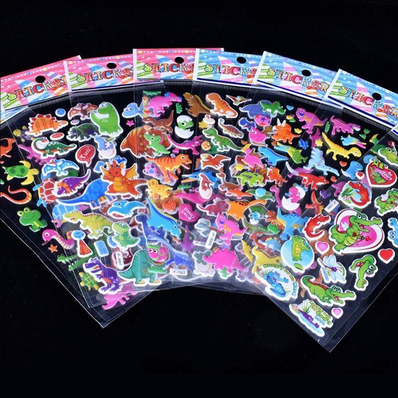 3D Cartoon Sticker Waterproof Bubble PVC Sticker Princess Car Girls Boys Kids Children DIY Gifts Toy For Children