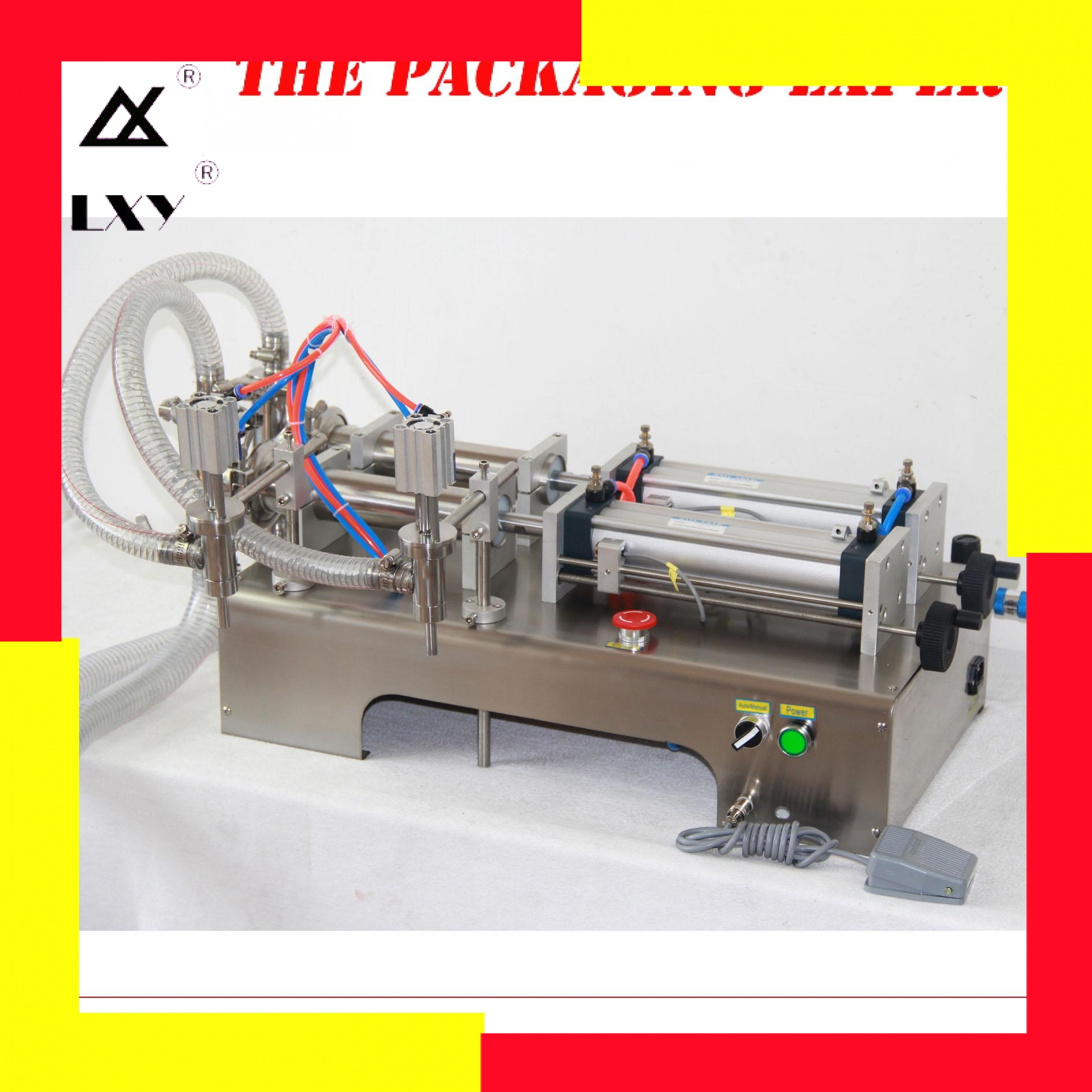 Double Heads Pneumatic Piston Liquid Filler Shampoo Water Wine Milk Juice Vinegar Coffee Oil Drink Detergent Filling Machine