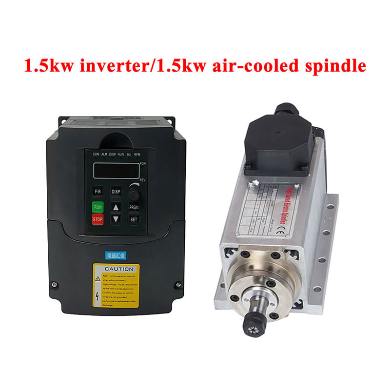 CNC 1.5kw square air-cooled <font><b>spindle</b></font> <font><b>motor</b></font> 220v <font><b>110v</b></font> air cooling kit ER11 and 1.5kw vfd inverter tool set for cnc router engraver image