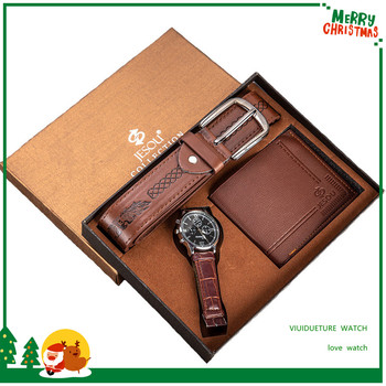 Мужской подарочный набор Упаковка хорошего качества часы + бумажник ремень набор внешней торговли Горячая креативная Комбинация набор