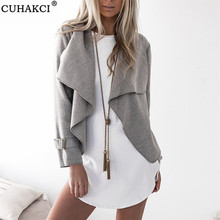 Spring Jacket Coat Outerwear Turn-Down-Collar Cardigan Women Long-Sleeve CUHAKCI Slim