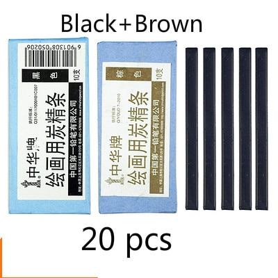 Черный уголь, брусок коричневый темно-серые растворимые в воде черный угольный карандаш дизайн Тип карандаш для рисования скетчей Рисование набросков расходные материалы - Характеристики: Black Brown