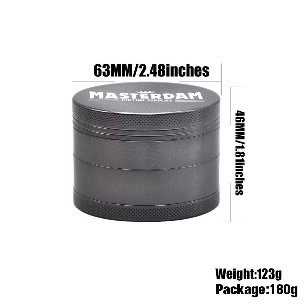 Masterdam Rolling Supplies 2.5-Inch Herb Tobacco Grinder with Pollen Catcher 4 Piece Aluminum Metal Smoking Grinders Accessories 1