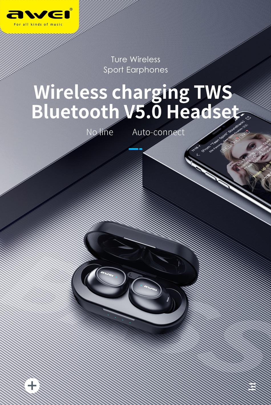 Original AWEI TWS T16 Wireless Earphone With Bluetooth Headset Earphone True Wireless Earbuds For Xiaomi Honor iPhone Earphones