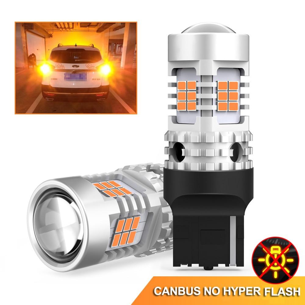 OXILAM 2Pcs No Error Hyper Flash Turn Signal Lamp T20 7440 W21W LED Bulb Canbus 3020 SMD Car Lights 2200K Amber Yellow 12V
