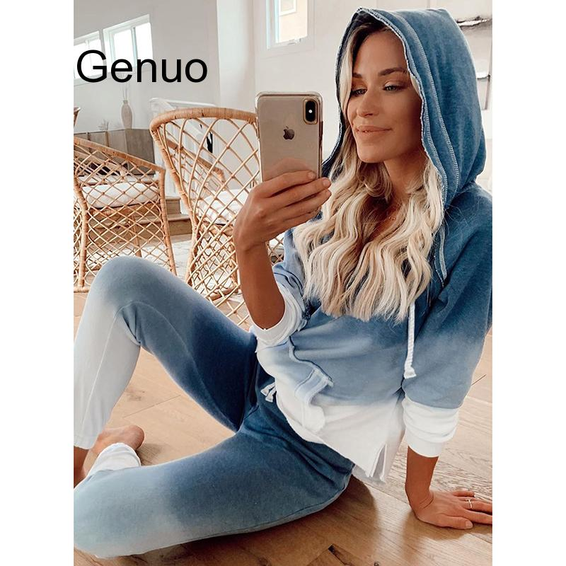 New Women Two Piece Set Tie Dye Printed Tracksuit Long Sleeve  Hooded Tops And Long Pants Jogging Female Matching Lounge Sets