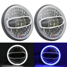 цена на Car New 108W H4 7 inch LED Headlights For Jeep Wrangler Jk TJ For Land Rover Defender White Blue Halo Headlamp Accessories
