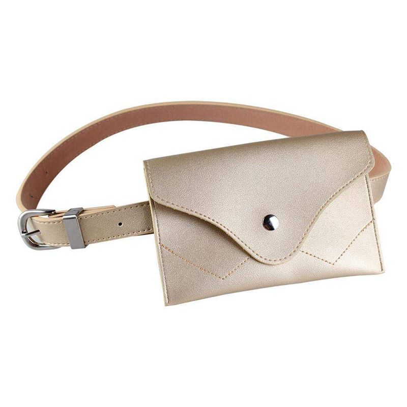NEW-Women Fanny Pack, PU Leather Fanny Pack With Removable Belt Waist Pouch Fashion Girls Belt Bum Fanny Bag Gold