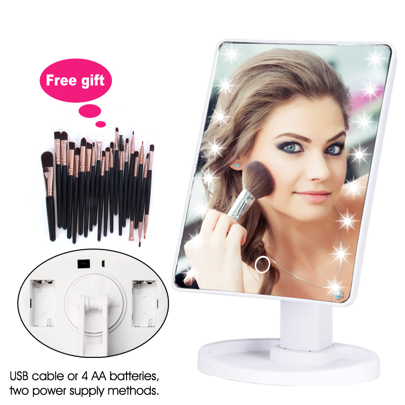 LED Professional Lighted Mirror With Light For Makeup Adjustable Light 16/22 Touch Screen Table Make-up Led Mirror Eyelash Brush