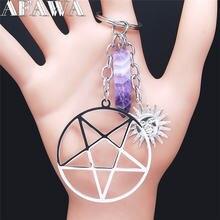 Сатаны пентаграмма Нержавеющаясталь фиолетового цвета с украшением