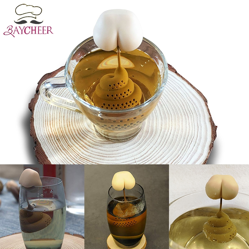 Silicone Tea Infuser Poop Butt Shape Tea Diffuser Silicone Reusable Safe Loose Leaf Tea Bags Strainer Filter Teapot Accessories