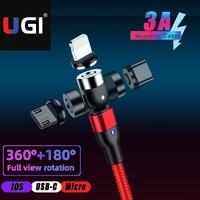 UGI 3 en 1 540 giratorio 3A de carga rápida Cable magnético para Cable IOS tipo C USB-C Cable Micro USB Android Cable de teléfono móvil
