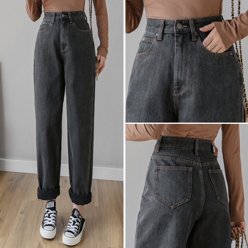 Han Edition Of Tall Waist Straight Wide-legged Pants Spring New Show Skinny Jeans Female Tide Xuan Ya Hang Mop Pants