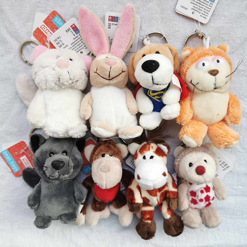 10cm Cute Jungle Brother Plush Keychains Toys Stuffed Lion Elephant Pig Plush Animals Phone Key Chain Bag Couple Pendant Doll