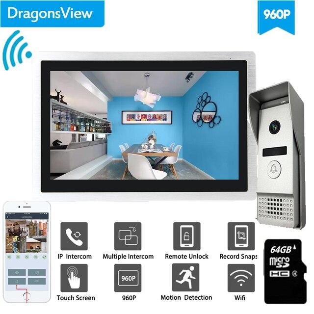 Dragonsview Wifi וידאו פעמון עם צג IP וידאו דלת טלפון אינטרקום מערכת רחב זווית מגע מסך שיא זיהוי תנועה