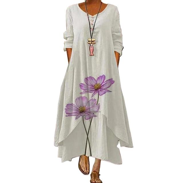 2021 Elegant Flowers Print Long Sleeve Spring Summer Dresses Casual O Neck Loose Women Dress Vintage Party Vestidos Long Dresses 2