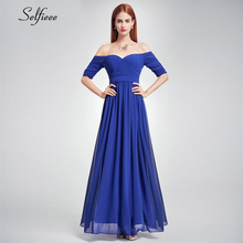New Fashion Women Dress A-Line V-Neck Off The Shoulder Ruched Long Chiffon Dress Elegant Maxi Party Dress Vestido De Festa 2019