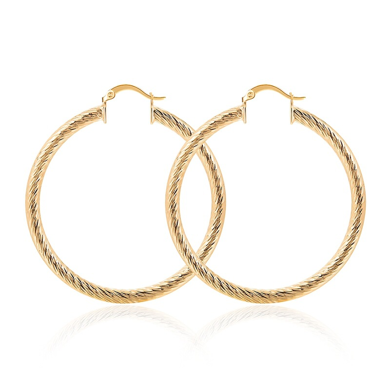 Elegant Fashion Ladies Gold Earrings Women's Glossy Oval Hoop Simple Fashion Earrings Wholesale Jewelry