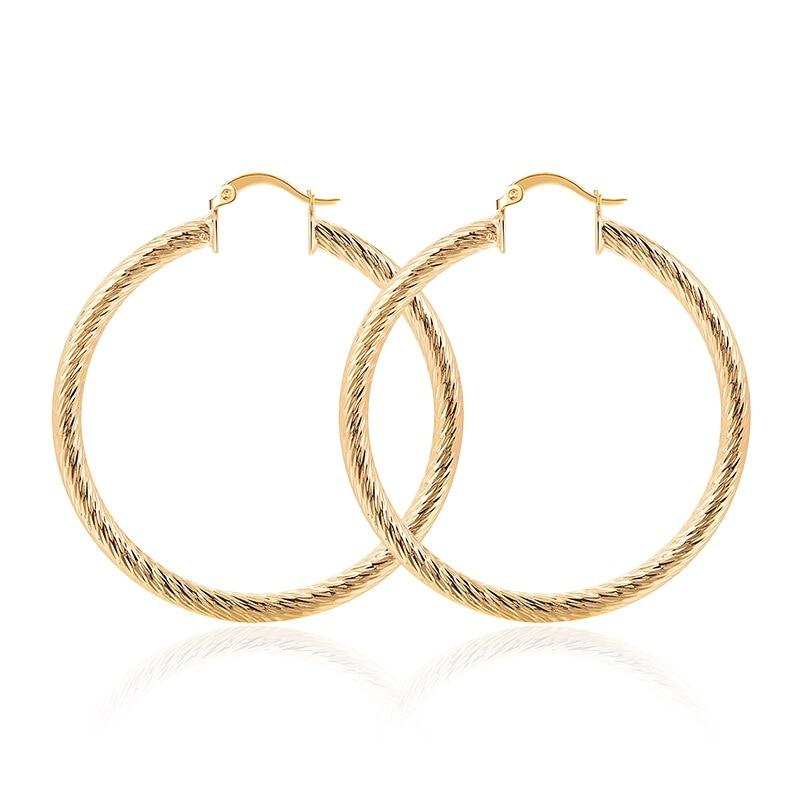 Elegant Fashion Ladies Gold Earrings Women's Glossy Oval Hoop Simple Fashion Earrings Wholesale Jewelry