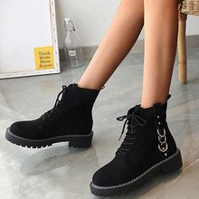 Flock Winter Boots Women 2019 Rings Lace Up Ankle Boots For Women Platform Shoes Round Toe Black Female Boots Bota Feminina(China)