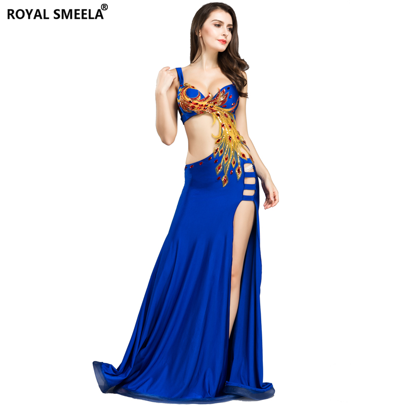 Free Shipping Women Belly Dance Costume Set Phoenix Totem Bra Top Skirt Dress Carnival Hollywood Club Stage Clothes Long Dress