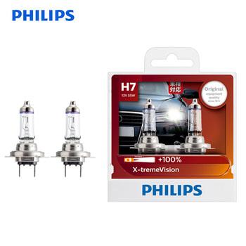Philips H7 12V 55W PX26d x-treme Vision żarówki reflektorów samochodowych jasne lampy halogenowe ECE zatwierdzić 100 więcej wizji 12972XV S2 para tanie i dobre opinie 12 v 55 w 2 bulbs Headlight 1500 lm