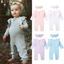 Newborn Baby Boy Girl Long Sleeve Romper Jumpsuit Solid Overall Headband Infant Toddlers Autumn Knitted Clothes Set(China)