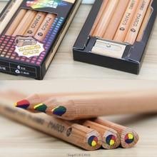 6 pcs Color Pencil Set 4 Color Concentric Rainbow Pencil for Painting Graffiti Drawing wooden colored pencils School Supplies