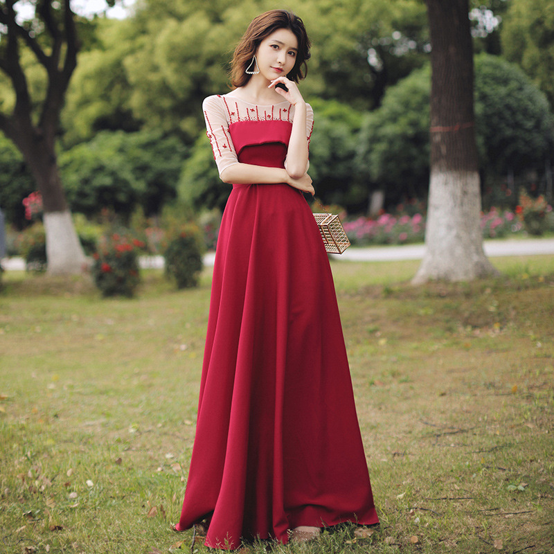 Gengli Dress To Wear At Ordinary Times In The Fall Of 2020 The New Red Bridal Party Evening Dresses Woman Is Simple And Easy
