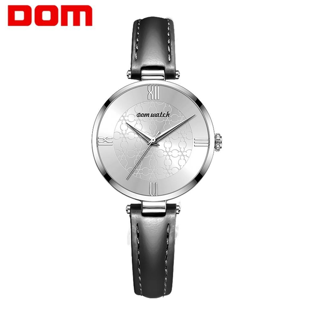 DOM Womens Watches Top Brand Luxury Waterproof Watch Fashion Ladies Leather Ultra-Thin Casual Wrist Watch Quartz Clock G-1294