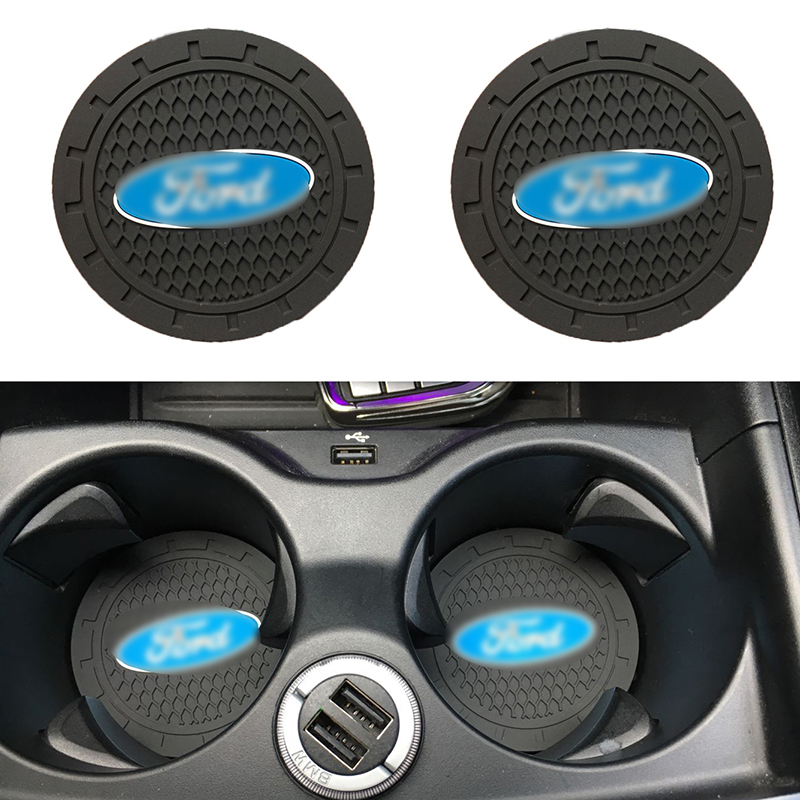 2pc For Ford Mk2 Mk3 Mk4 Mk5 Mk7 Fiesta Focus FOCUS 2 3 4 5 Silicone Car Non-slip Coaster Mat Car Water Coaster Pad Accessories