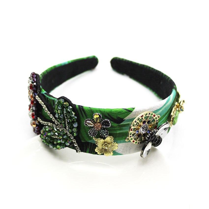 Large Headbands with Green Rhinestones Baroque Headband Pearls Jewelry Pearl Flower Crystal Rhinestone Wedding Bridal