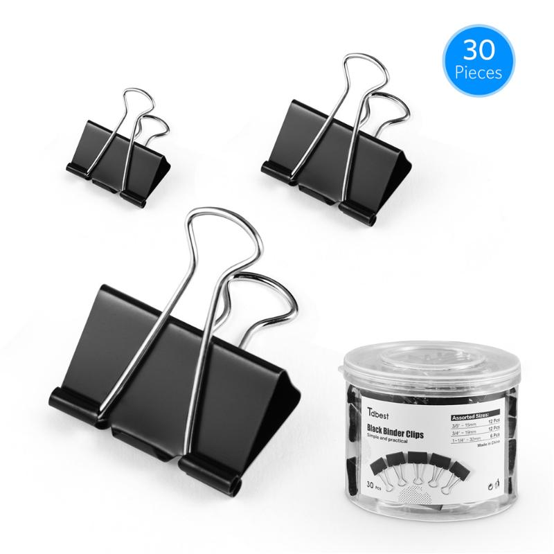 VODOOL 30pcs Metal Clamp Binder Clips Colorful Paper Clamp For Book Stationery School OfficeSupplies Ticket Holders Black