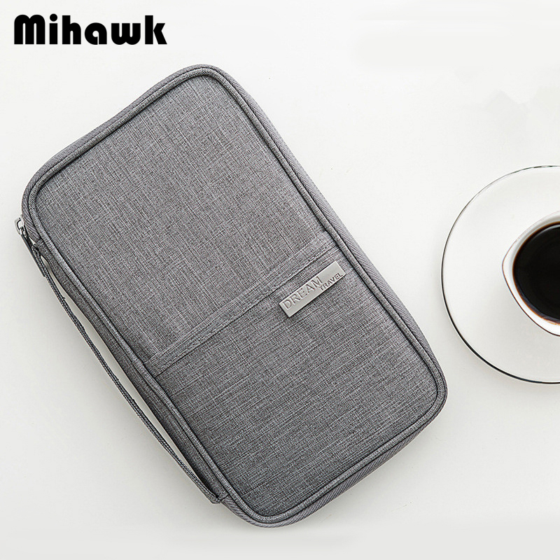 Mihawk Unisex Passport Wallet Collation Bags Women Men Traveling Credit Card Pouch ID Holder Trip Tote Document Bag Accessories