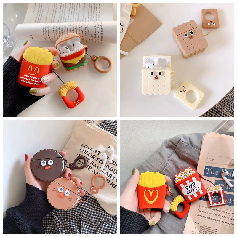 For AirPods Case 3D Cute Biscuits Cola Burger Earphone Cases For Apple Airpods 2 Funny Protect Cover With Finger Ring Strap