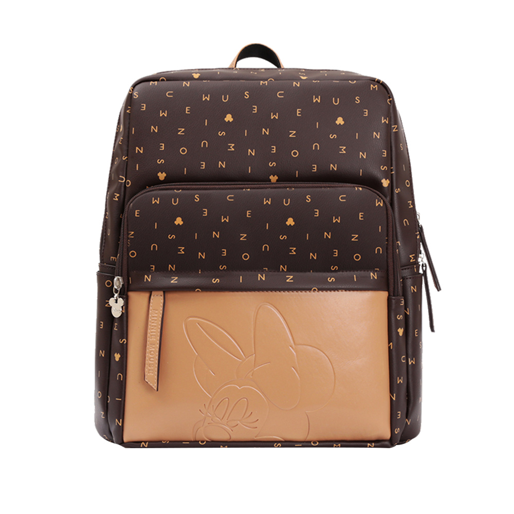 Disney Diaper Bag USB Baby Care Backpack Mom Mummy Maternity Wet Nappy Bag Waterproof Mickey Boy Bag Organizer Travel PU Leather