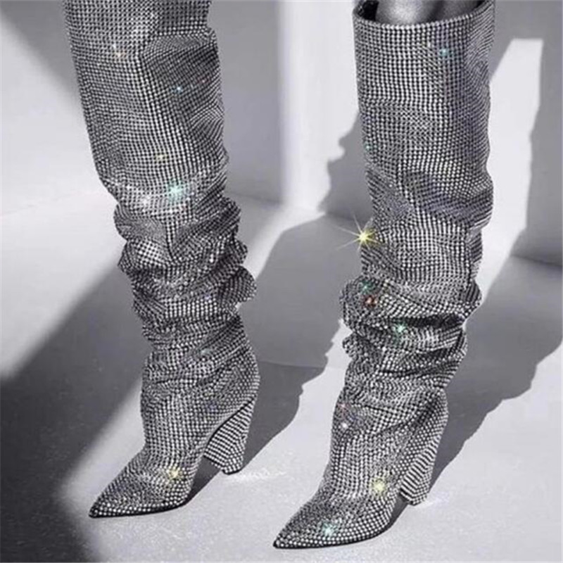 Women Shoes Luxury Studded Strange Sliver Rhinestone High-Heels Pointed-Toe Bling Slip