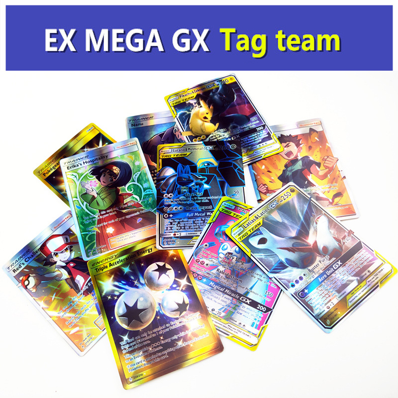 Tag Team Pokemon Cards GX EX Mega Sun And Moon Battle Carte Trading Cards Trainer Card Falsh Board Game