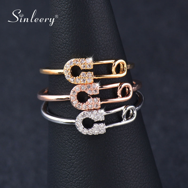 SINLEERY Unique Design Tiny Crystal Pin Shape Midi Rings Rose Gold Silver Color Women Fashion Jewelry Accessaries JZ048 SSK