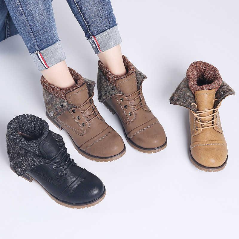 STQ 2019 yeni kış kadın yarım çizmeler ayakkabı hakiki deri Lace Up platformu çizmeler kadın sıcak peluş kar botları kadın 1802