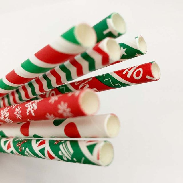 25pcs Paper Drinking Straws Snowflake Paper Straw Merry Christmas Decoration For Home Happy New Year Xmas Party Tableware 2020 15