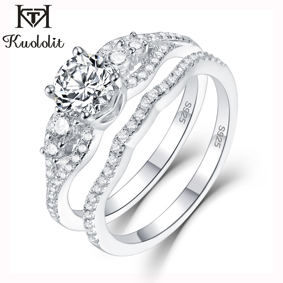 Kuololit 1.2ct Sona Diamonds Rings For Women 925 Sterling Silver Band Ring Round Cut Stone Engagement Bride Gifts Fine Jewelry