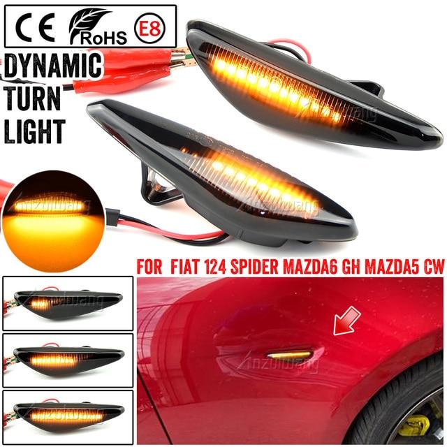 Dynamische Side Maker Blinker Licht Voor Mazda6 Gh Mazda5 Cw RX 8 2Pcs Led Side Mirror Knipperlichten Voor fiat 124 Spider Abarth