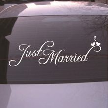 Just Married Wedding Sign Dia Decorações Etiqueta Do Carro Bandeira Janela Decalque PVC(China)