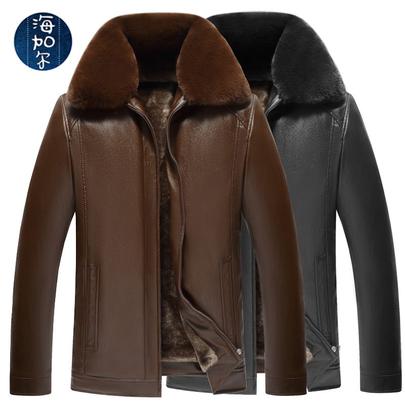 2019 New Products Fold-down Collar Leather Coat Men's Fur Collar Deconstructable Middle-aged Leather Jacket Brushed And Thick Wa